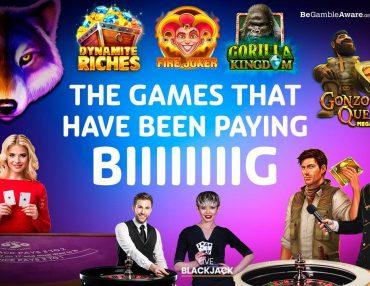 AUGUST'S BIGGEST WINNING CASINO GAMES