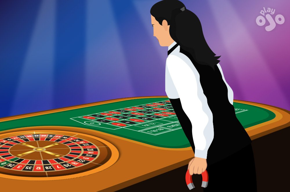 Croupier holds a magnet under the wheel