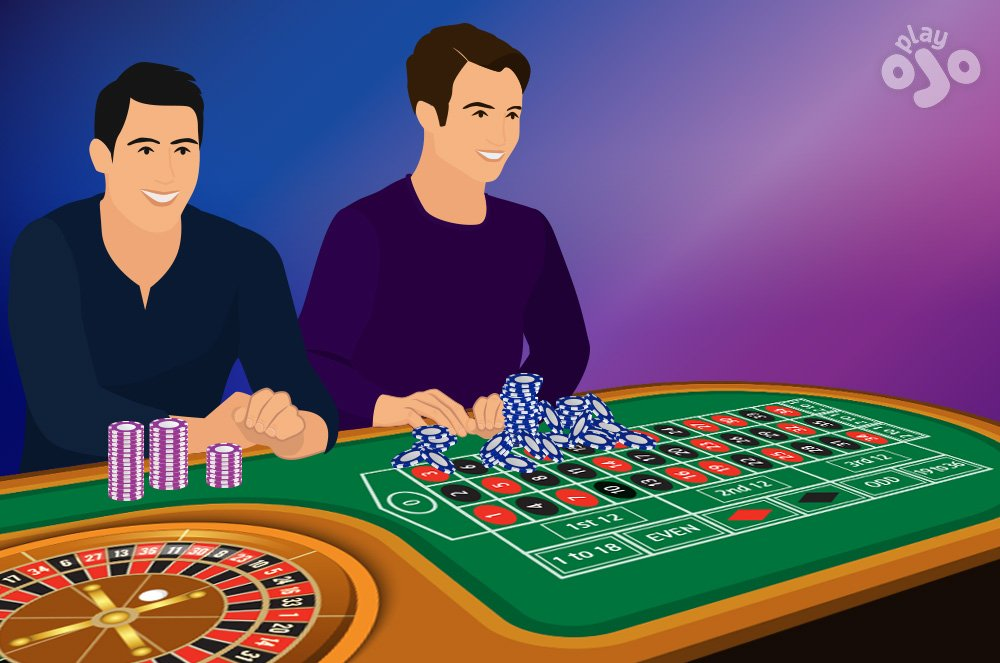Show 1 player with several neat stacks of chips, and another player with messy pile of chips, some of which are spilling onto the betting board