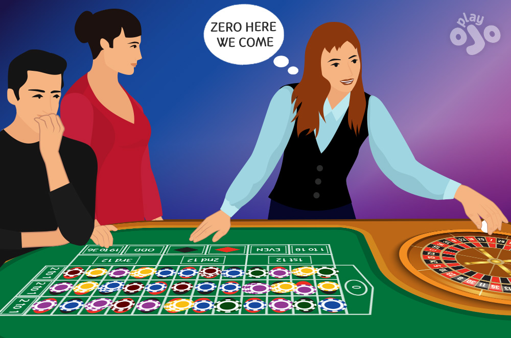 Croupier about to release the ball, with thought bubble which says LAND IT IN ZERO and lots of bets across the table but none on zero