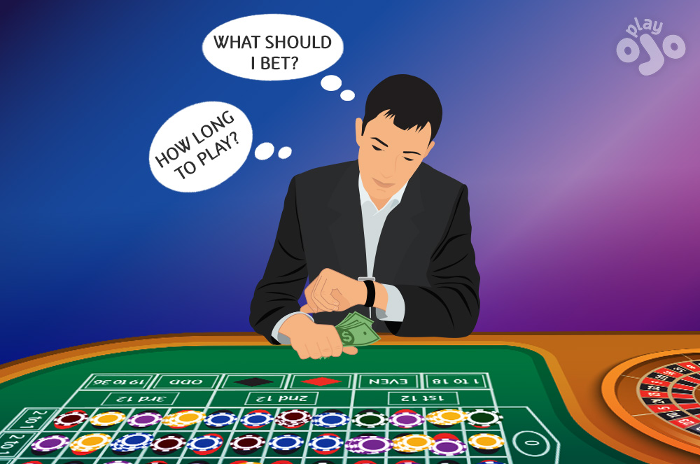 Player at roulette table with money and time thought bubbles, maybe even looking at her watch, and with cash notes in her hand