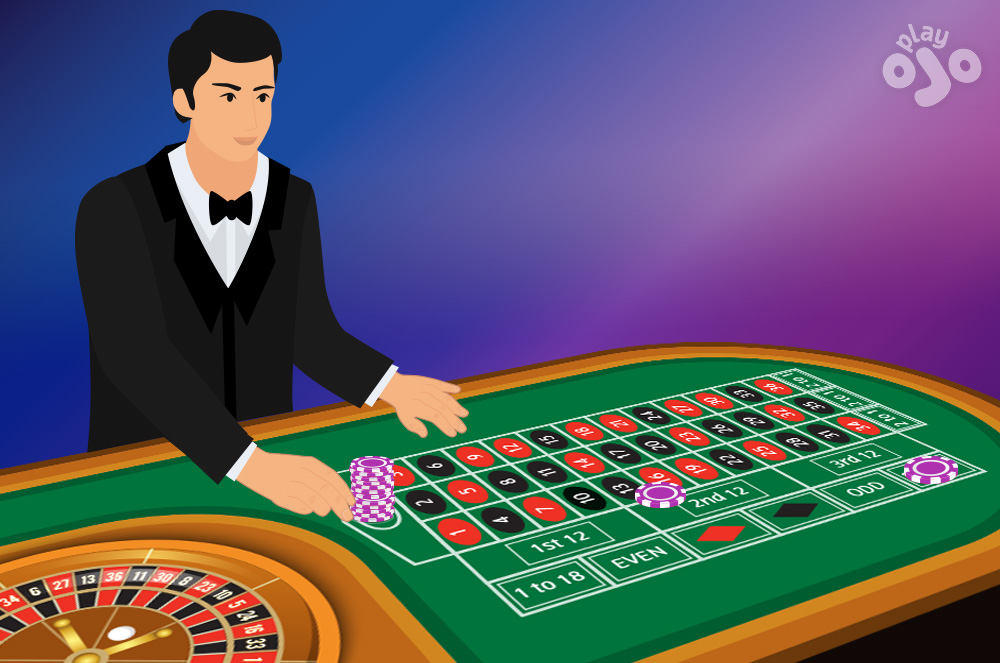player in a tuxedo next to a roulette table with a stack of chips on 0 the 13-18 six-line bet and High