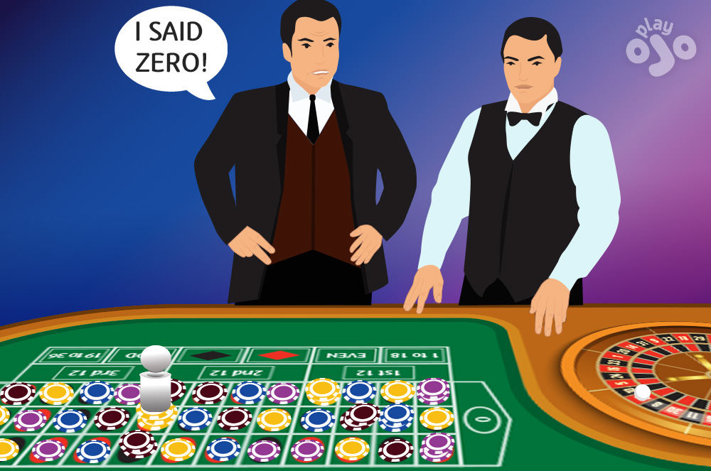 Croupier with sad face ball in 32 pit boss angrily says I SAID ZERO