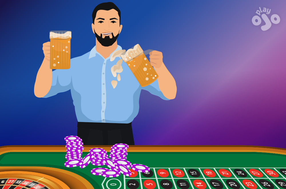 Show player with a pint of beer in each hand