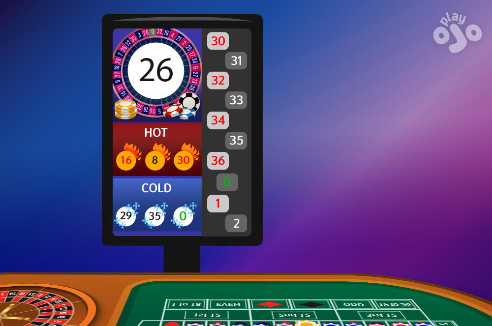 Show a typical electronic roulette results board with recent numbers and Hot-Cold numbers