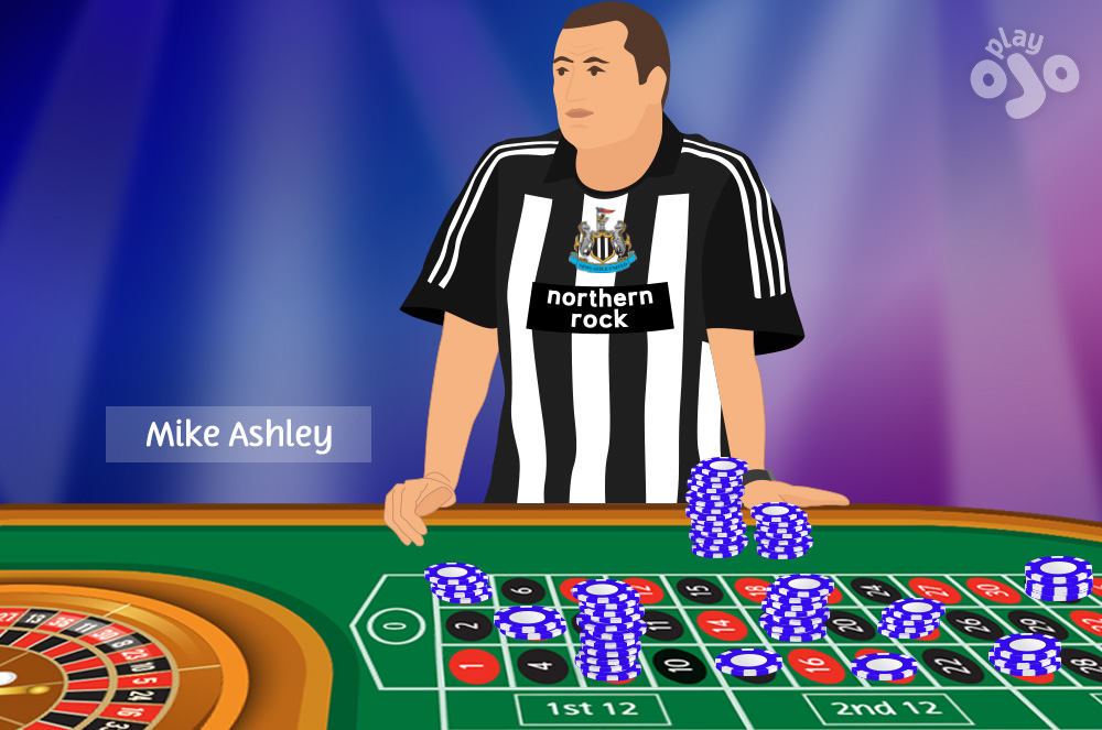 Guy who looks like Mike Ashley (large guy wearing a Newcastle United FC football shirt, see comment) with lots of big stacks of chips spread across the board