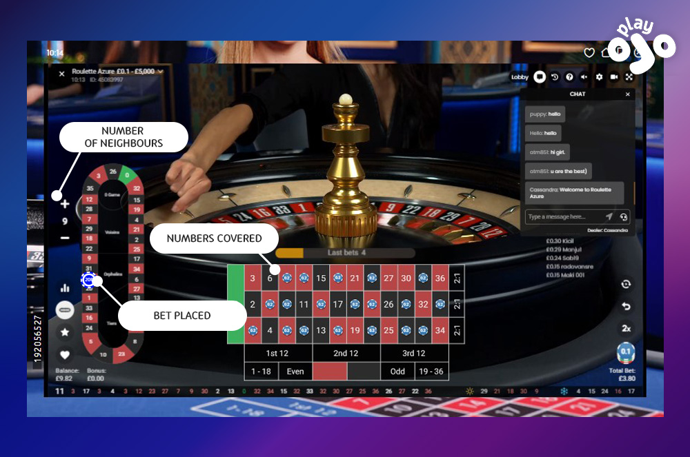 Neighbours bet in a Live Roulette