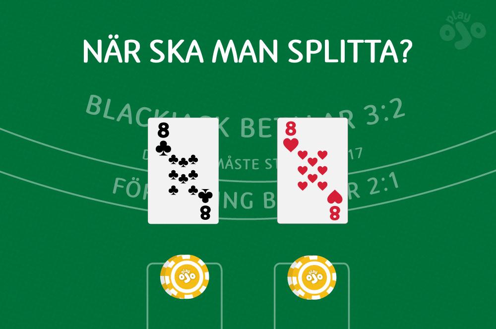 blackjackbord med ett delat par åttor och en stack med marker