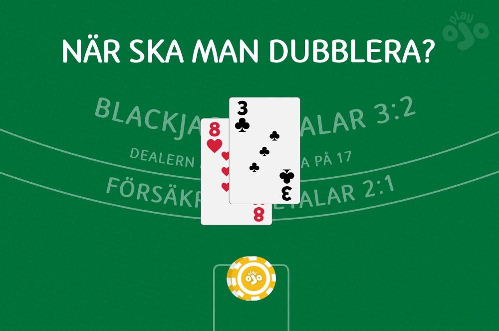 när man ska dubbla ner medan man spelar blackjack