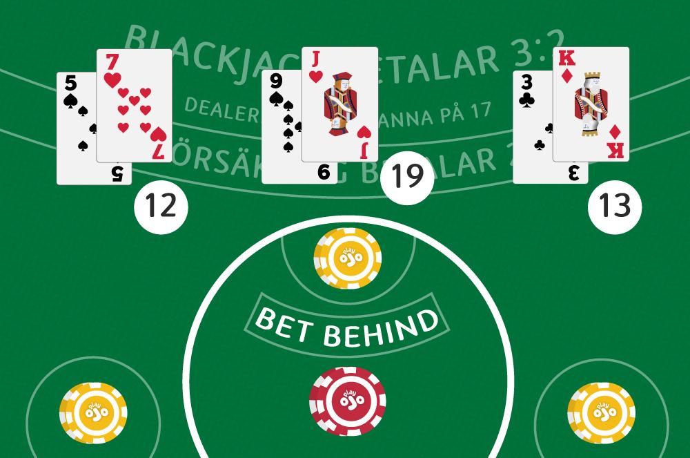 Lagg din insats bakom marker for att betala blackjack-kortet