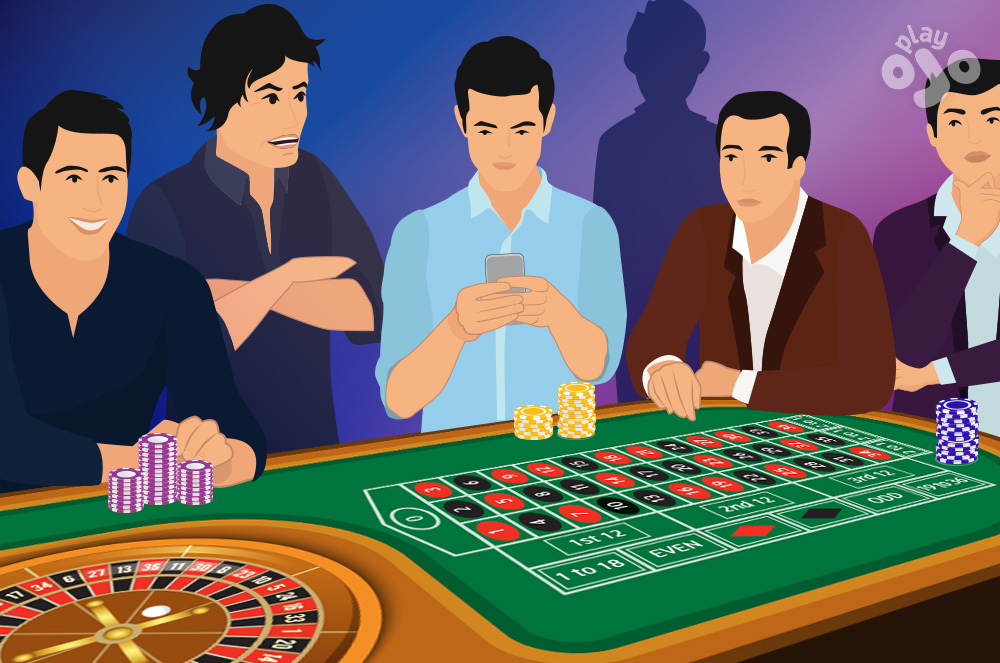 2 players beside the roulette wheel and 3 non-players standing beside them